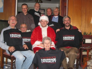 New Ways Ministry Volunteer Christmas Party:  Standing: Vern Smith, Patrick McNelis, David Lamdin, David Vespa; Seated: Mark Clark, Thom Krupa, Bob Shine, Matthew Myers; Kneeling:  Sister Jeannine Gramick