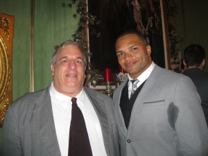 Baltimore Raven Brendon Ayanbadejo (right) poses with Francis DeBernardo of New Ways MInistry at Governor O' Malley's marriage equality victory celebration.