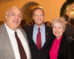 Maryland Governor Martin O'Malley (center) poses with New Ways Ministry's Sister Jeannine Gramick (right) and Francis DeBernardo (left).