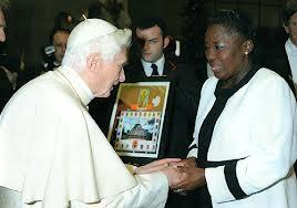 Pope Benedict meets Rebecca Kadaga.