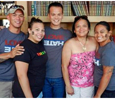 James Servino (center) poses with siblings and his mother, Barbara Servino (second from right).