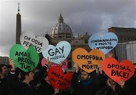 LGBT protesters near St. Peter's Square demonstrate against the Pope's World Day of Peace message.