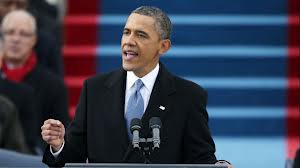 President Obama delivering his inaugural address.
