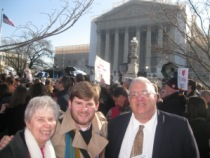 New Ways Ministry staff at the marriage equality demonstration outside the Supreme Court:  Sister Jeannine Gramick, Bob Shine, Francis DeBernardo.