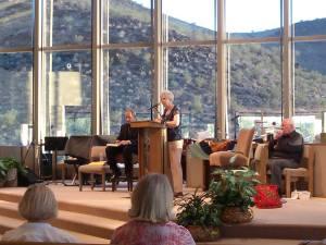 Sr. Jeannine Gramick speaking with Bishop Thomas Paprocki