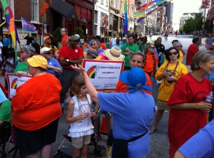 St. Matthew's contingent in  Baltimore's Pride Parade