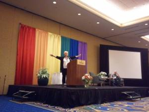 Sister Maureen Fiedler at Dignity convention.