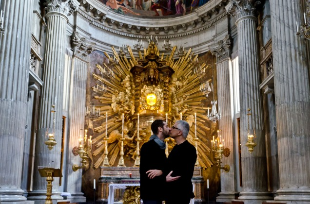 Two men kissing in St. Peter's Basilica, Rome