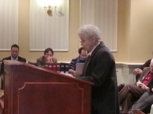 Sister Jeannine Gramick testifying in Annapolis for the transgender anti-discrimination bill.  Photo by Steve Charing/BaltimoreOUTLoud