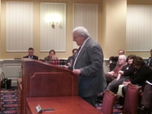 New Ways Ministry Executive Director Francis DeBernardo testifying in Annapolis.  Photo by Steve Charing/BaltimoreOUTLoud