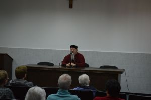 Archbishop Chacour addressing the pilgrims