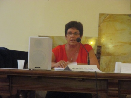 Joseanne Peregin speaking at the international theological conference in Rome.