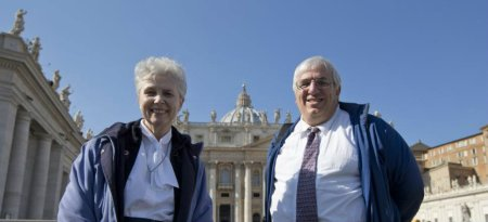 Sister Jeannine Gramick and Francis DeBernardo in St. Peter's Square following the Ash Wednesday audience.