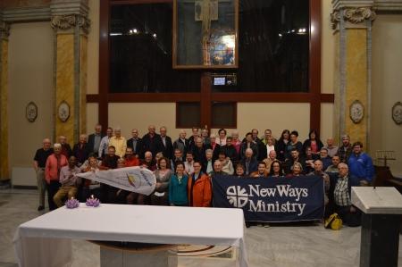 New Ways Ministry pilgrims with LGBT Catholic pilgrim group from UK