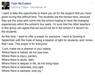 Message from Tyler McCubbin in Facebook group