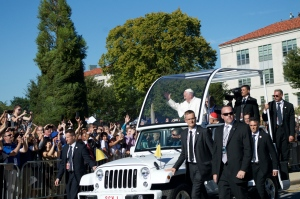 Pope Francis greeting crowds in D.C.